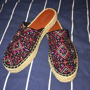 Embroidered slip on shoes